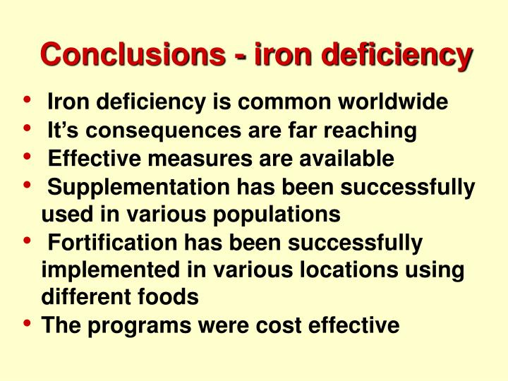 Conclusions - iron deficiency