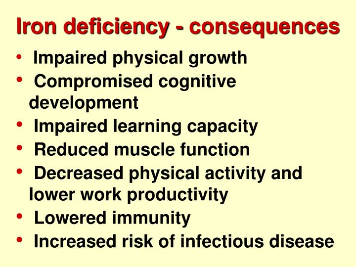 Iron deficiency - consequences