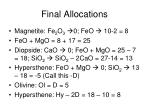 final allocations