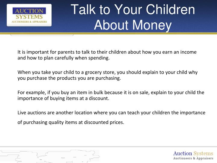 Talk to your children about money