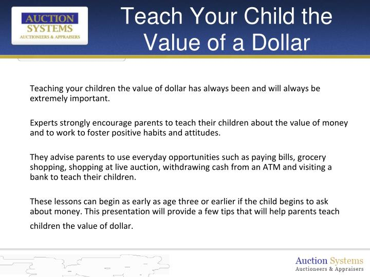 Teach your child the value of a dollar