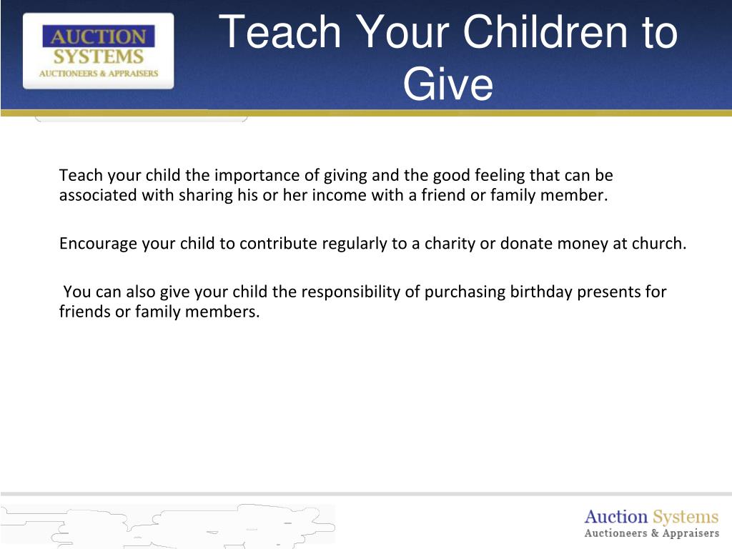 Teach Your Children to Give