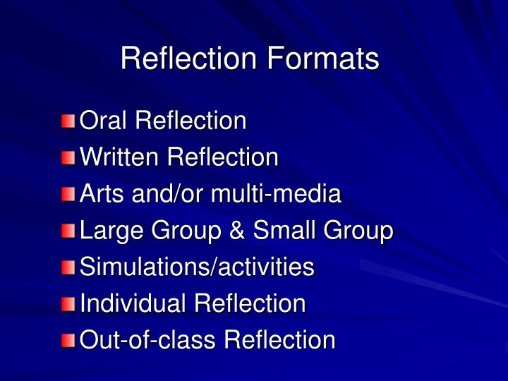 Reflection Formats