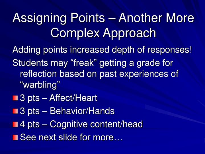 Assigning Points – Another More Complex Approach