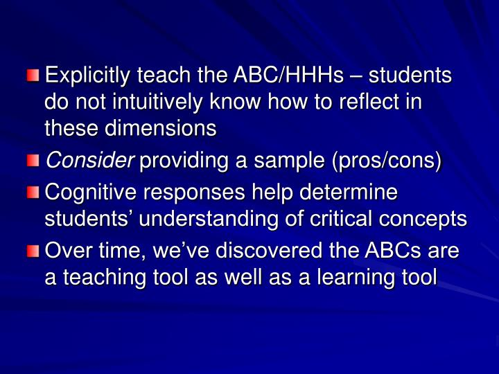 Explicitly teach the ABC/HHHs – students do not intuitively know how to reflect in these dimensions