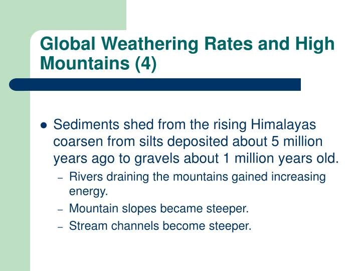 Global Weathering Rates and High Mountains (4)