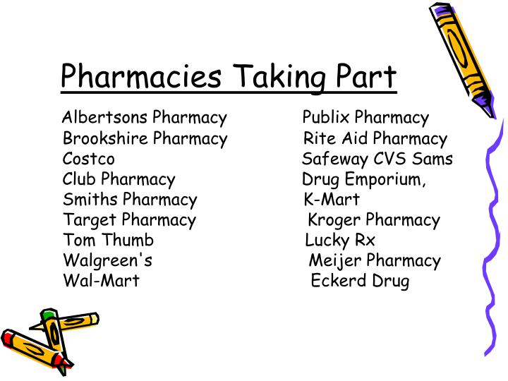Pharmacies Taking Part