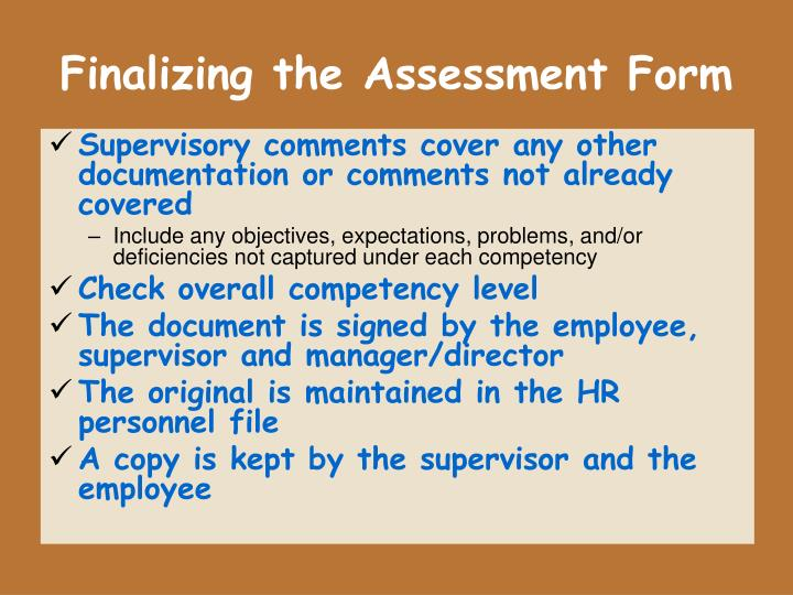 Finalizing the Assessment Form