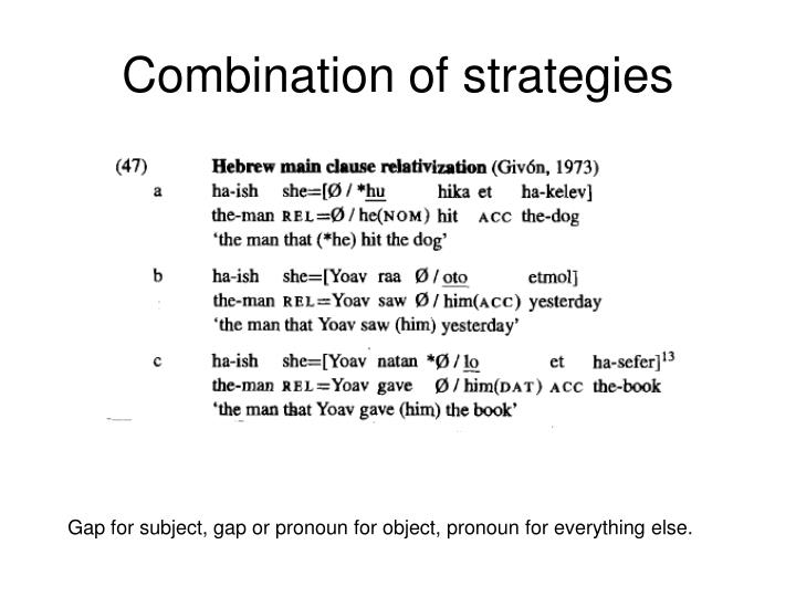 Combination of strategies
