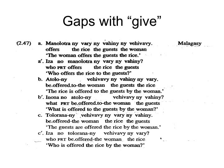"Gaps with ""give"""