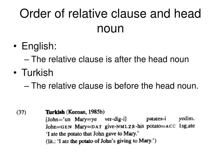 Order of relative clause and head noun