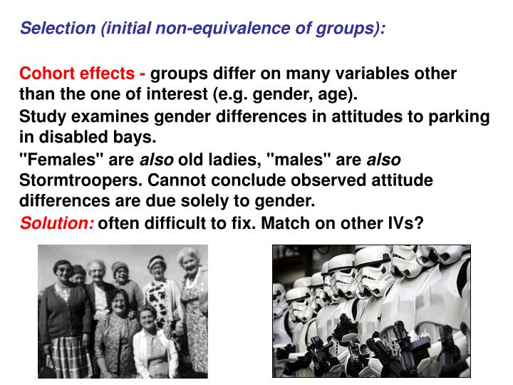 Selection (initial non-equivalence of groups):