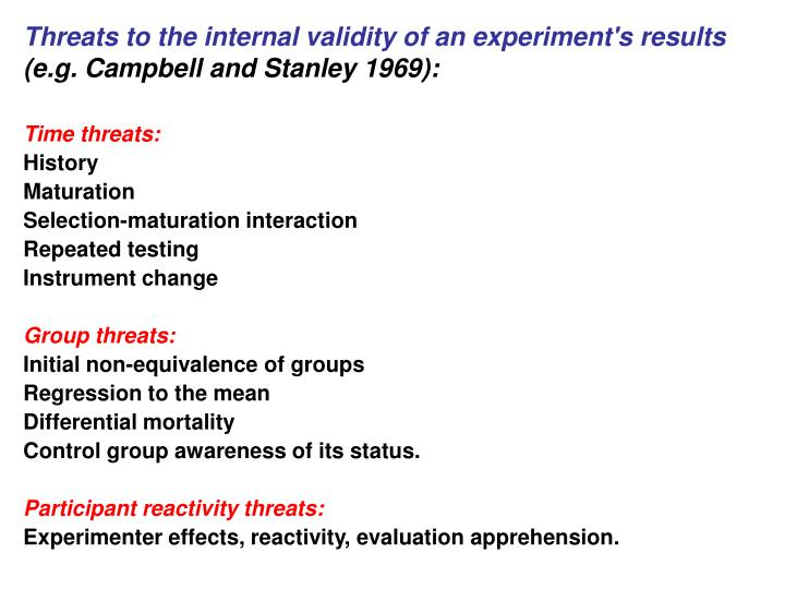 Threats to the internal validity of an experiment's results
