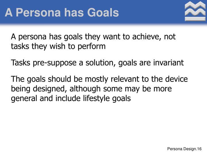 A Persona has Goals