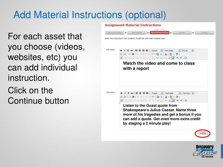 Add Material Instructions (optional)