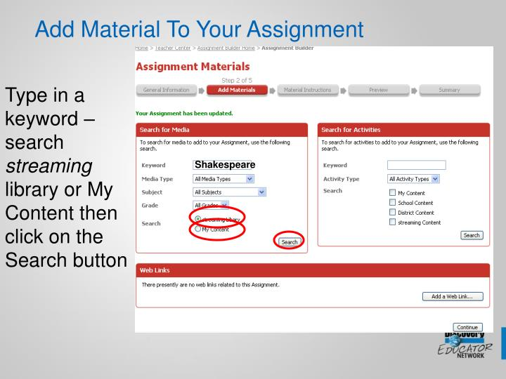Add Material To Your Assignment