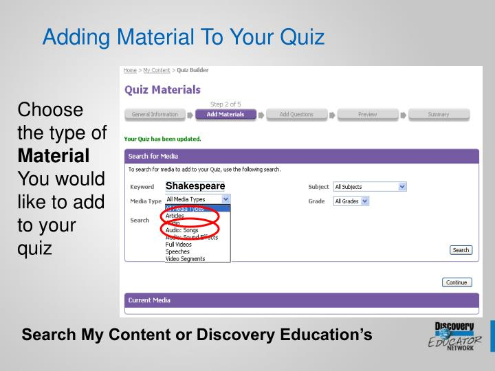 Adding Material To Your Quiz