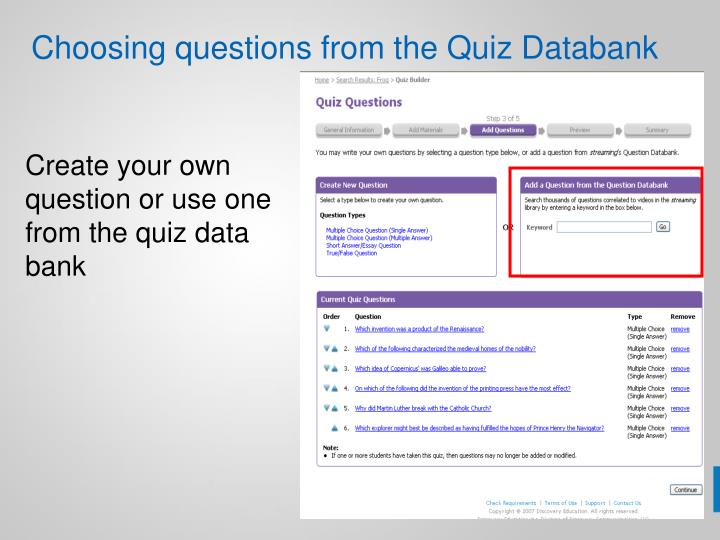 Choosing questions from the Quiz Databank