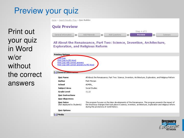 Preview your quiz