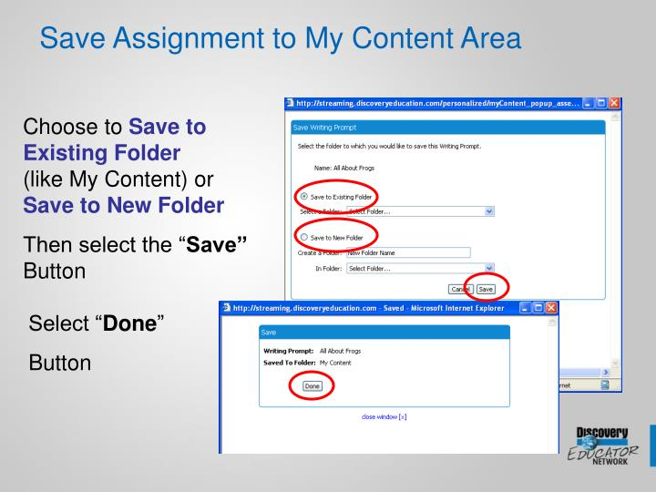 Save Assignment to My Content Area