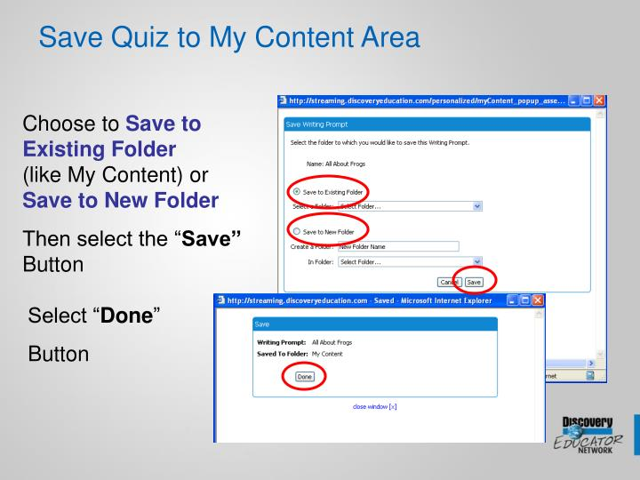 Save Quiz to My Content Area