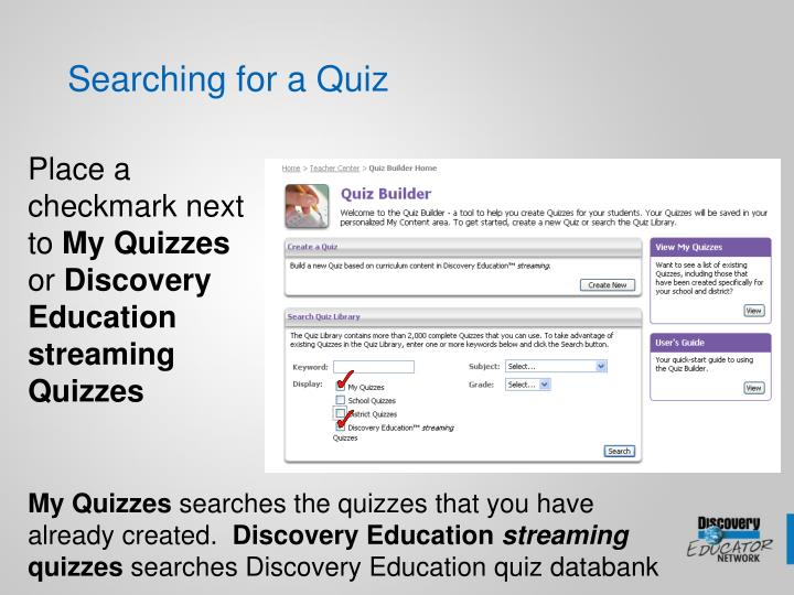 Searching for a Quiz