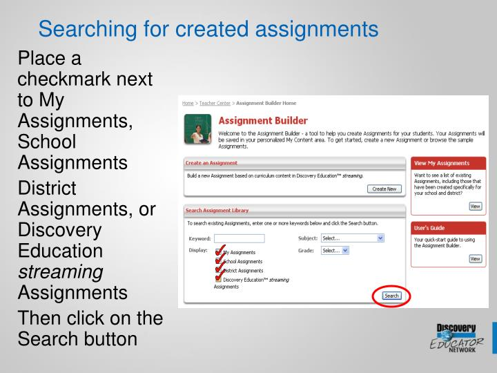 Searching for created assignments