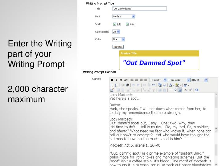 Enter the Writing part of your Writing Prompt