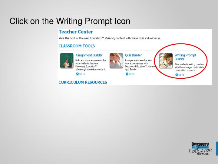 Click on the Writing Prompt Icon
