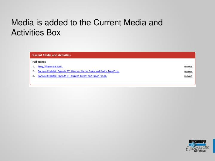Media is added to the Current Media and Activities Box