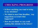 checking progress