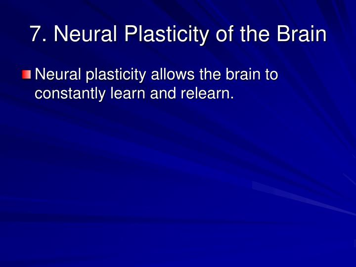 7. Neural Plasticity of the Brain
