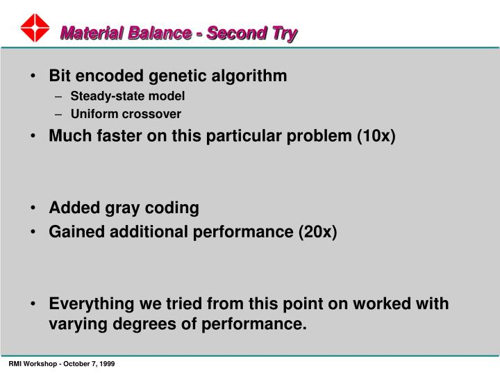 Material Balance - Second Try