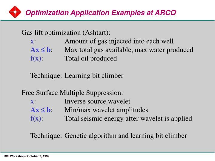 Optimization Application Examples at ARCO