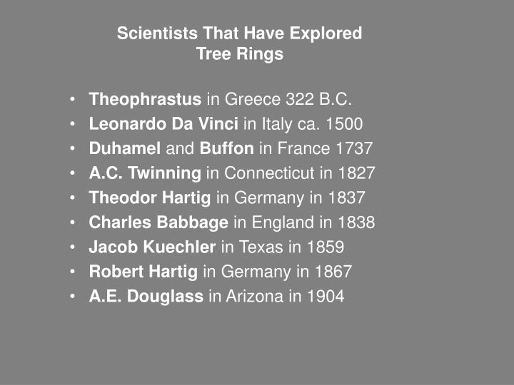 Scientists that have explored tree rings