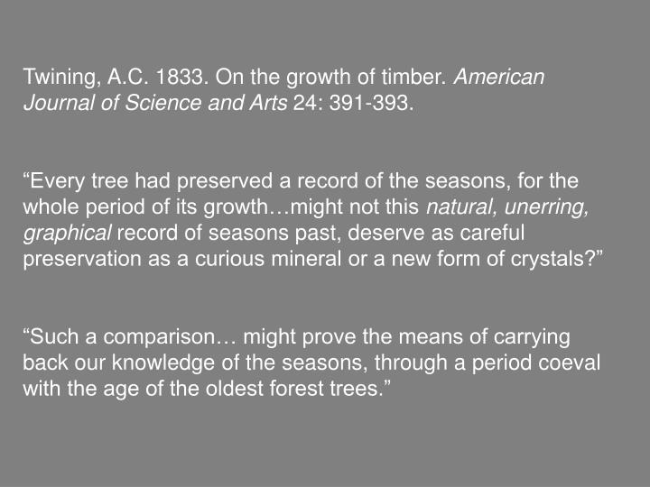 Twining, A.C. 1833. On the growth of timber.