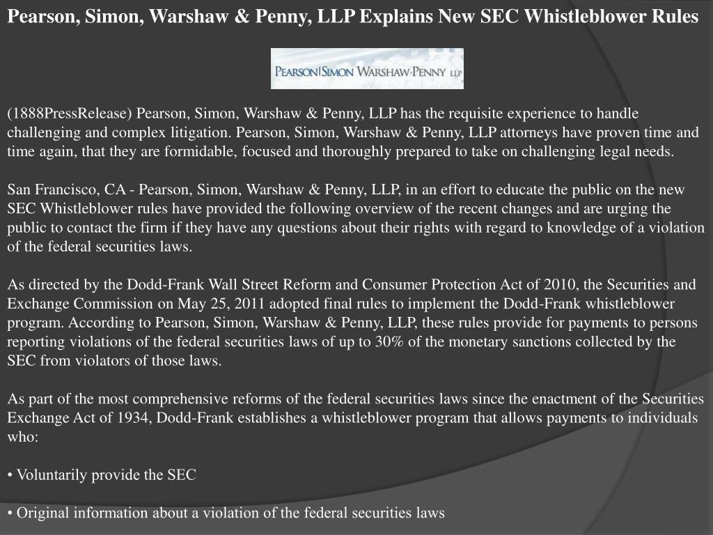 Pearson, Simon, Warshaw & Penny, LLP Explains New SEC Whistleblower Rules