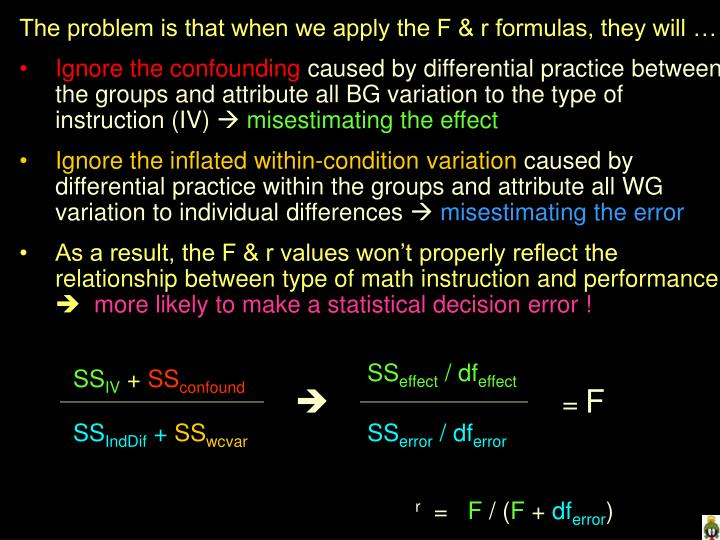 The problem is that when we apply the F & r formulas, they will …