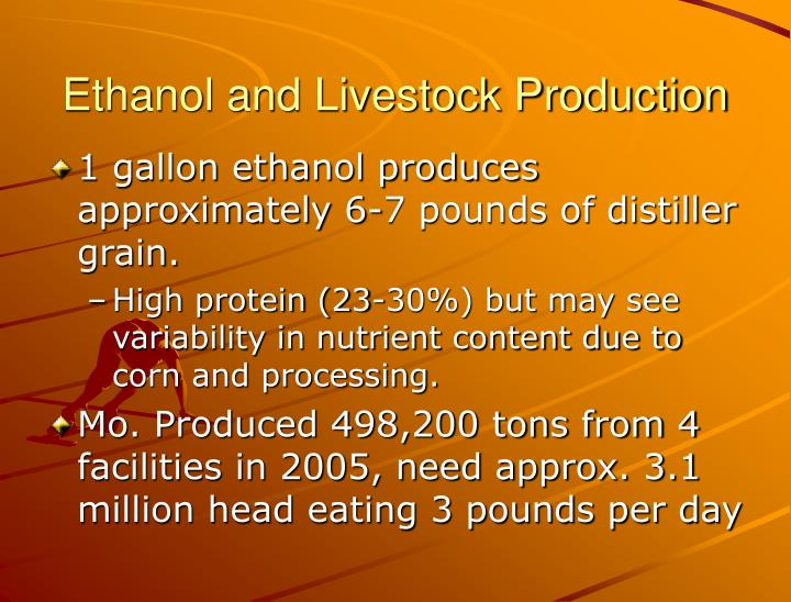 Ethanol and Livestock Production