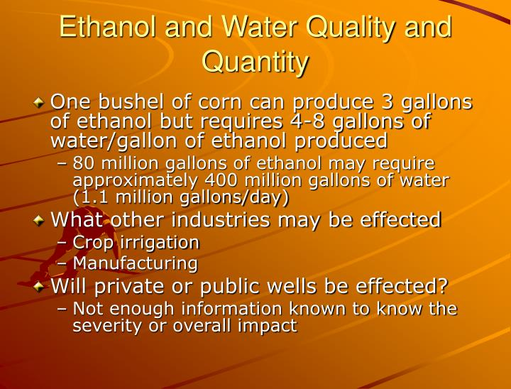 Ethanol and Water Quality and Quantity