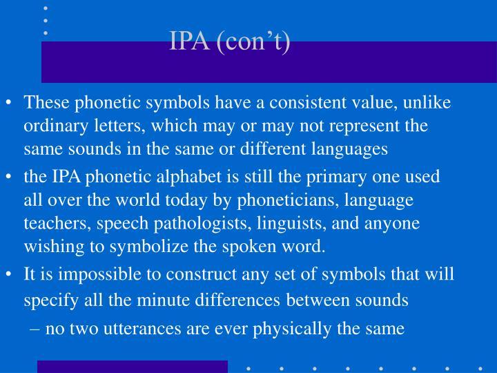IPA (con't)