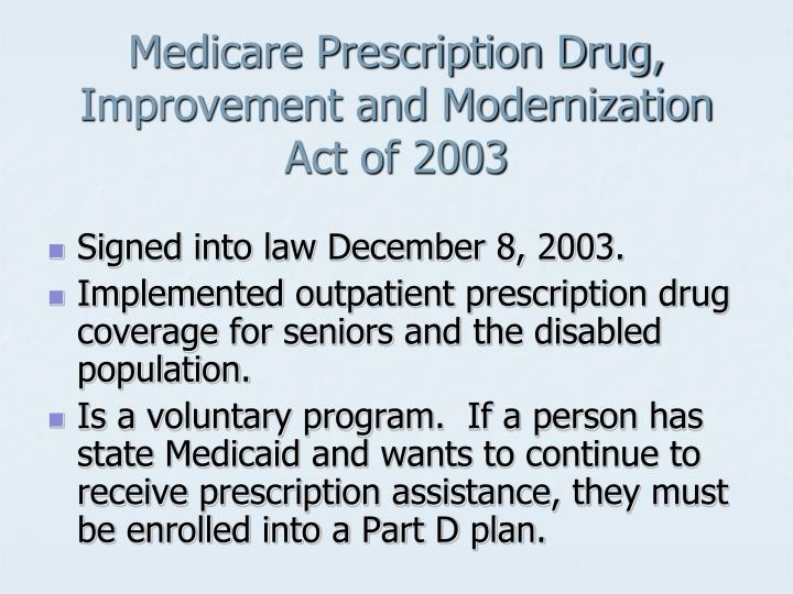 Medicare Prescription Drug, Improvement and Modernization Act of 2003