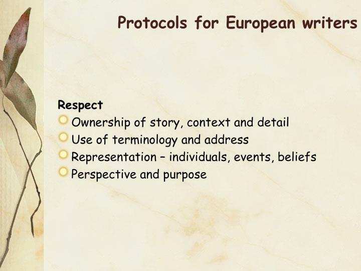 Protocols for European writers