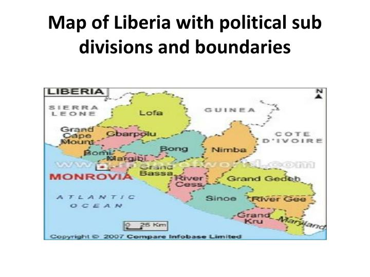 Map of Liberia with political sub divisions and boundaries