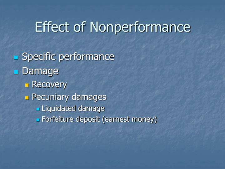 Effect of Nonperformance