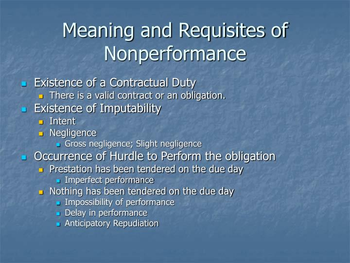 Meaning and Requisites of Nonperformance