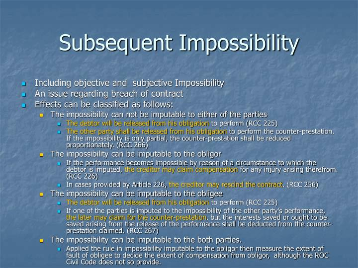 Subsequent Impossibility