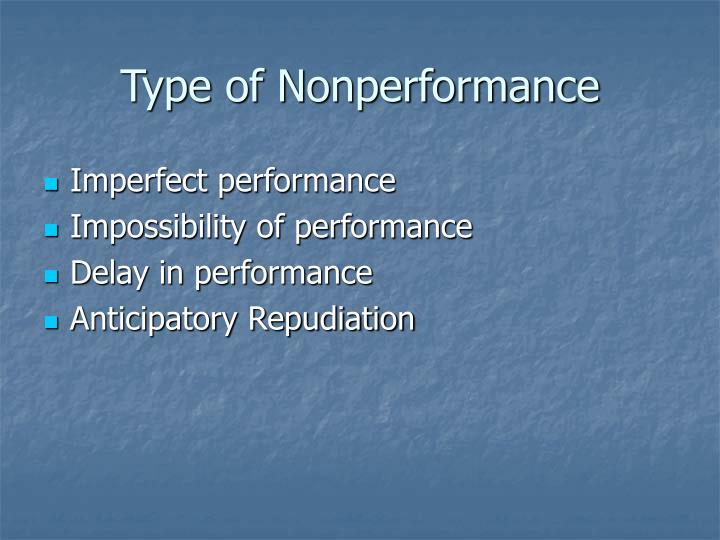 Type of Nonperformance