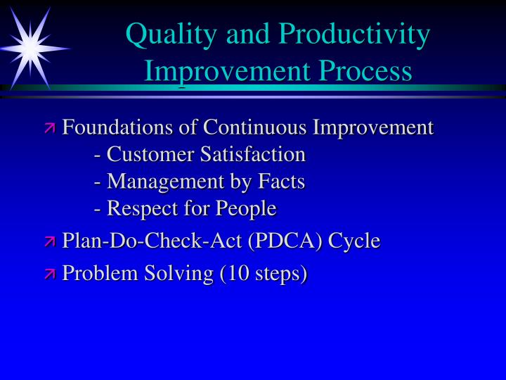 Quality and Productivity Improvement Process