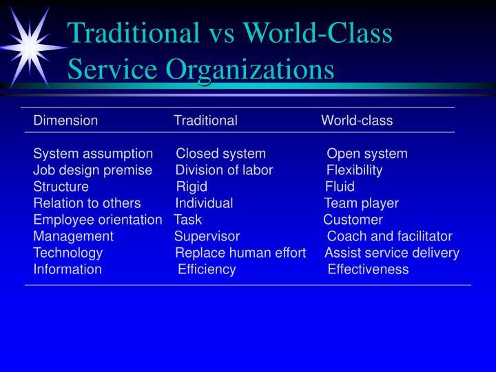 Traditional vs World-Class Service Organizations
